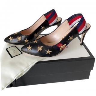 Gucci Black Stars & Bee Web Slingback Sylvie Pumps