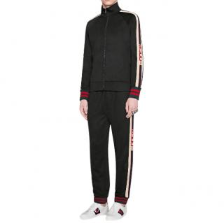Gucci Black Cotton Blend Web Stripe Joggers
