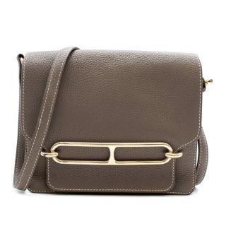 Hermes Etoupe Clemence Leather Roulis 23 PHW
