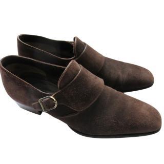 Santoni Brown Goodyear Leather Double Monks