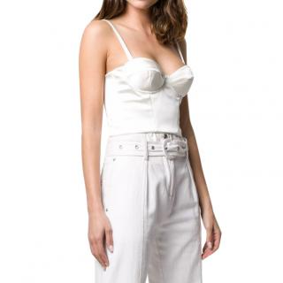 P.A.R.O.S.H White Satin Cropped Bustier