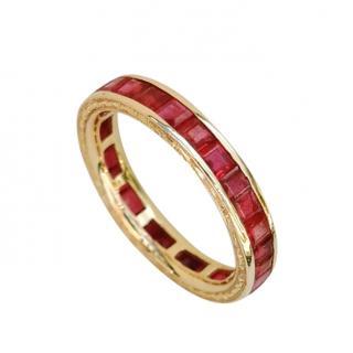 Bespoke princess cut ruby eternity ring size M