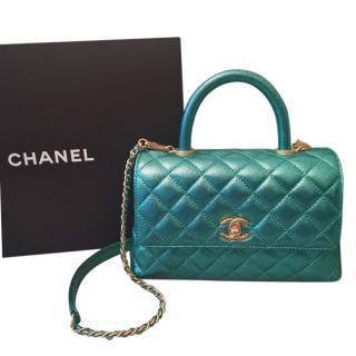 Chanel Metallic Green Small Coco Too Handle Flap Bag