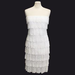 Melissa Odabash cream heavily beaded strapless dress