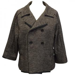 Olivier Strelli Brown Houndstooth Double Breasted Jacket