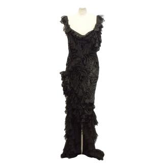John Galliano Black Velvet Gown