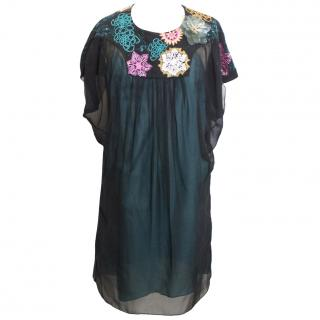 Matthew Williamson Black Embellished Sheer Dress