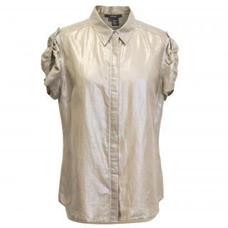 Per Se Beige Metallic Shirt
