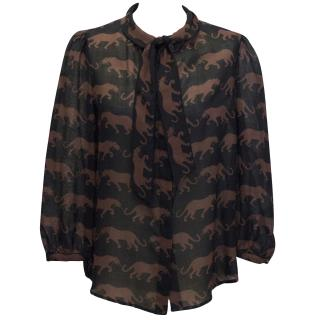 Marc By Marc Jacobs black panther print blouse