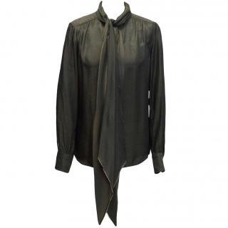 Marc Jacobs mocha metallic pussy bow blouse