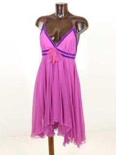 Matthew Williamson Pink Silk Chiffon Backless Cocktail Party Dress