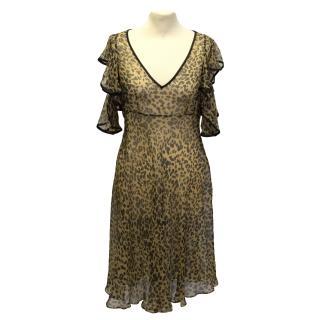 John Galliano Sheer Leopard Print Dress