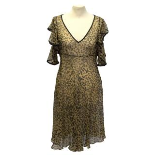 John Galliano Sheer Leopard Print Dress