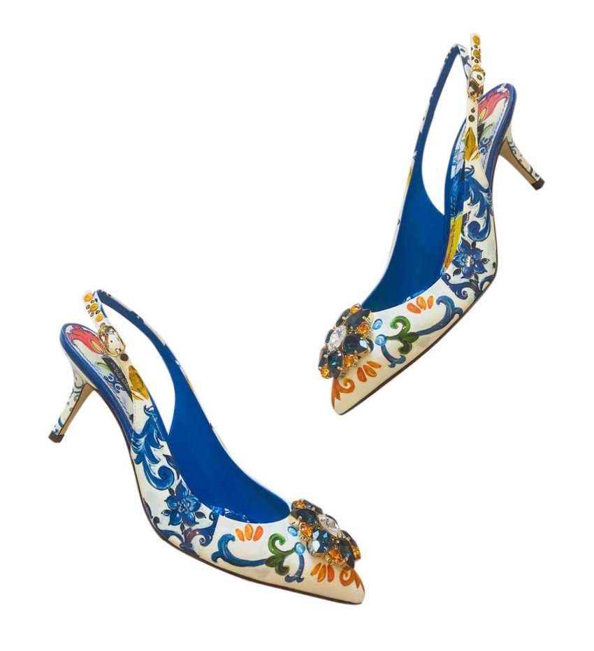 Dolce & Gabbana Majolica Print Crystal Slingback Sandals