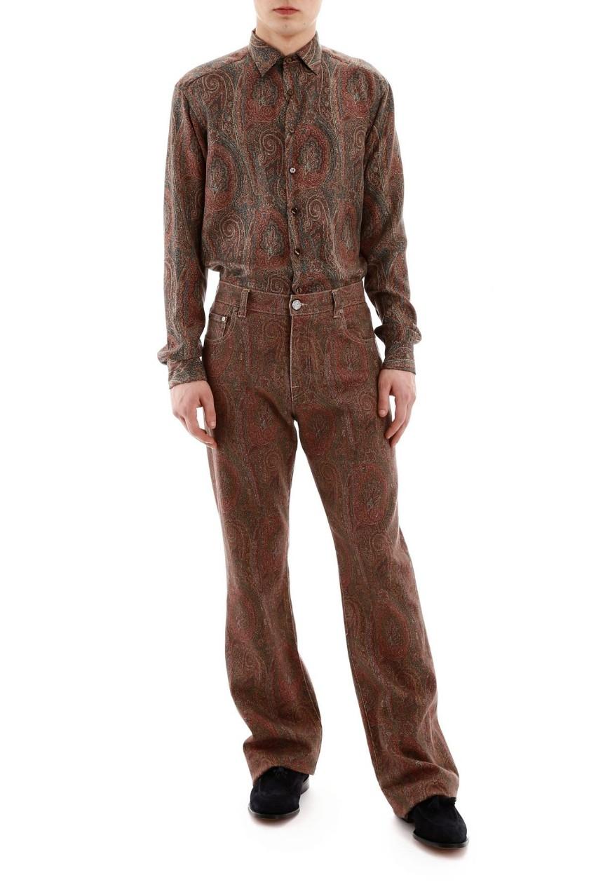 Etro Paisley Print Cotton Jeans