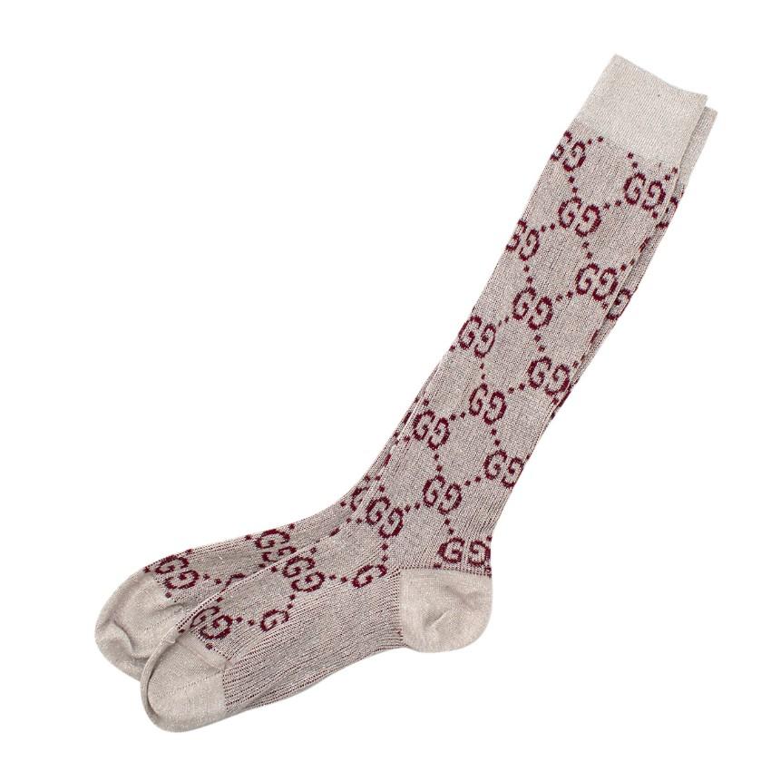 Gucci Beige & Red Lame GG Socks