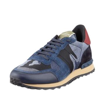 Valentino Rockstud Camo-Print Sneaker, Blue