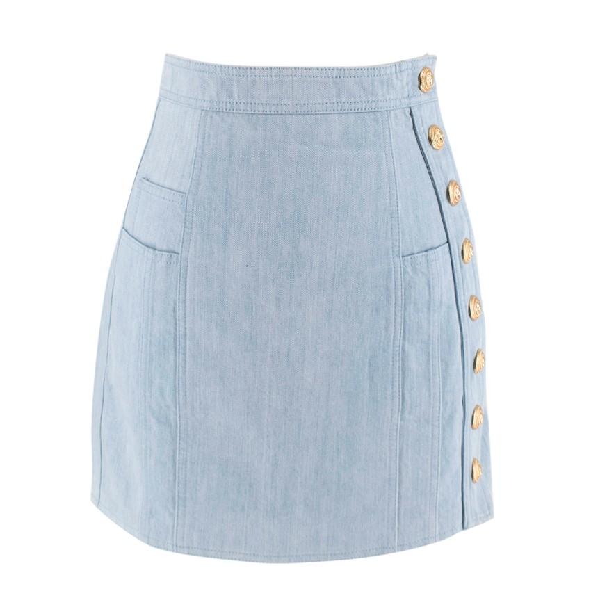 Balmain Blue Cotton Denim Buttoned Mini Skirt