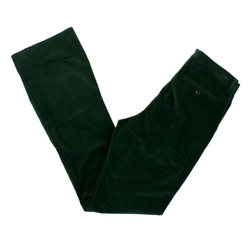 Etro Green Cotton Corduroy Slim Fit Flared Trousers