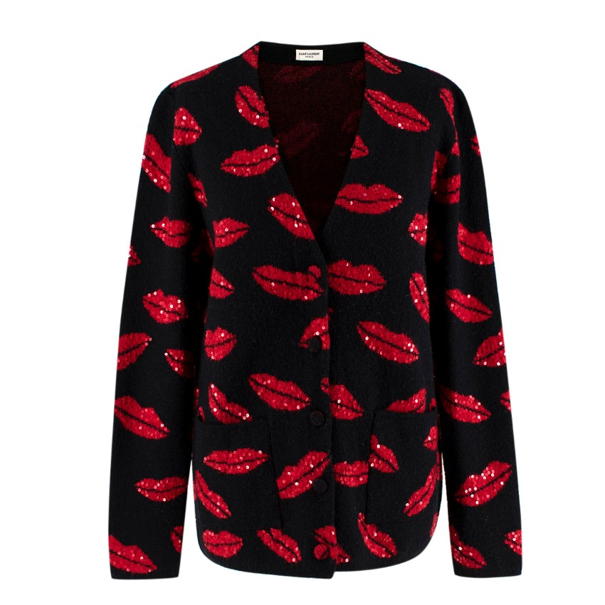 Saint Laurent Black Embroidered Lips Knit Cardigan