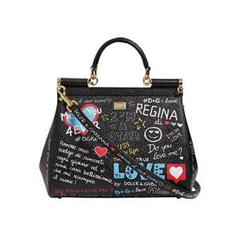 Dolce & Gabbana Medium Sicily Graffiti Leather Bag