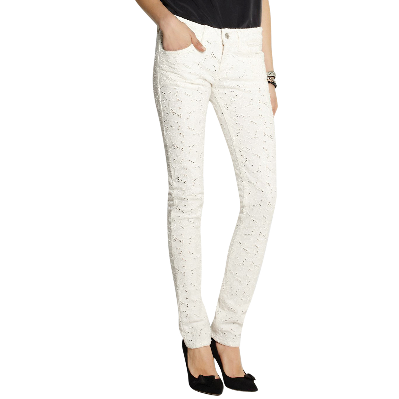 Isabel Marant Etoile Mael Broderie Anglaise Low-Rise Skinny Jeans