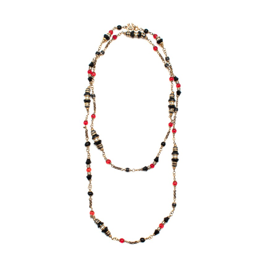 Chanel Red Black & Gold Beaded CC Double Strand Necklace