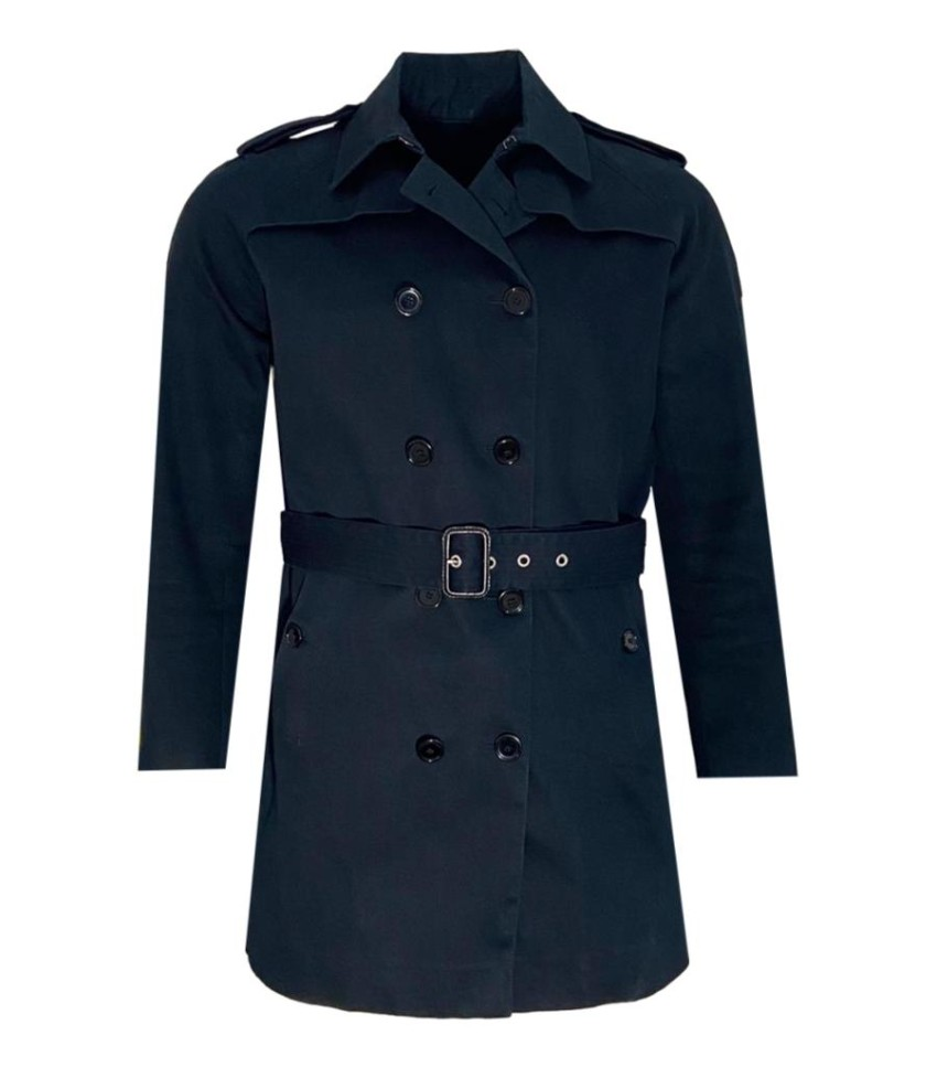 Sandro Blue Double Breasted Belted Trench Coat