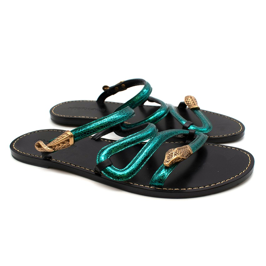 Roberto Cavalli Green Leather Snake Flat Sandals