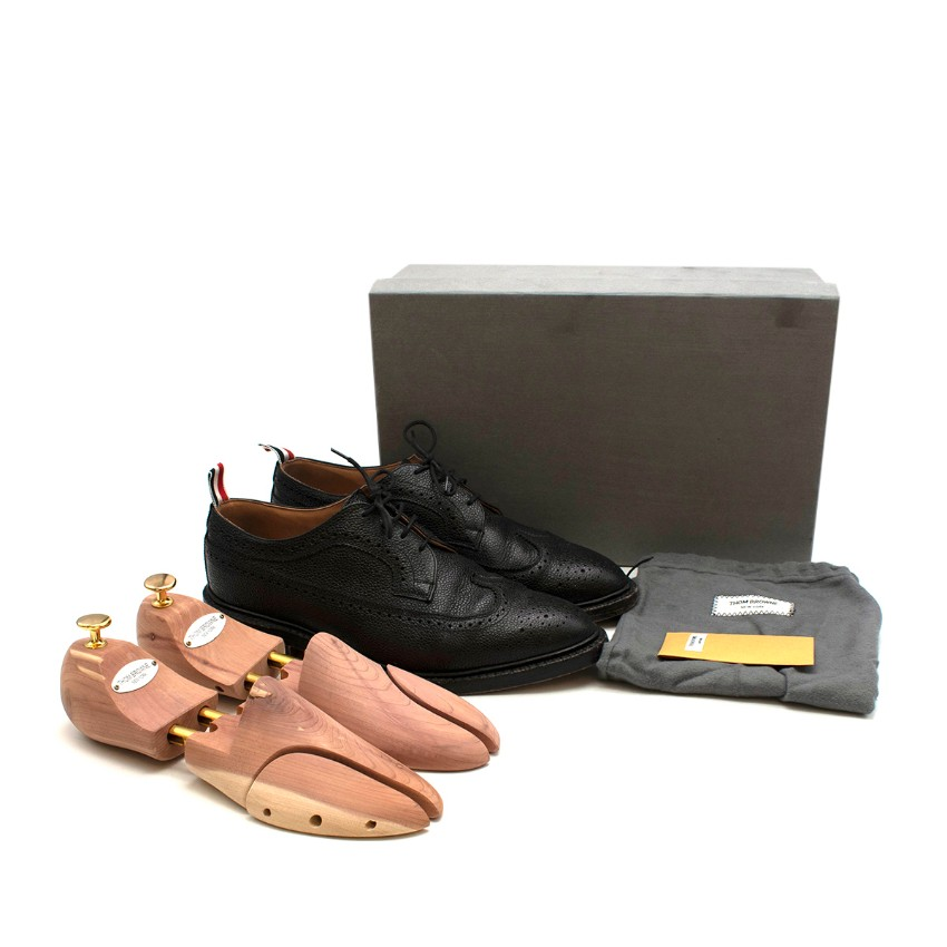 Thom Browne Black Grained Leather Brogues