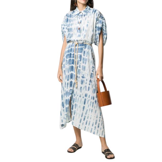 Nanushka Blue Tie-Dye Hanna Button Down Dress