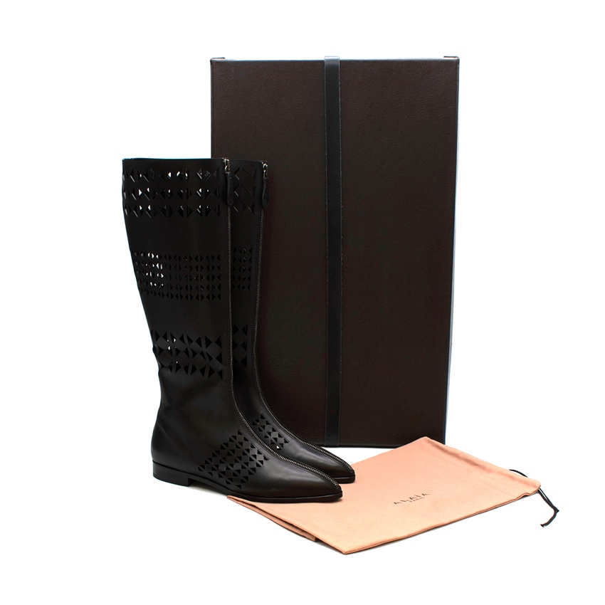 Alaia Laser Cut Black Leather Knee Boots