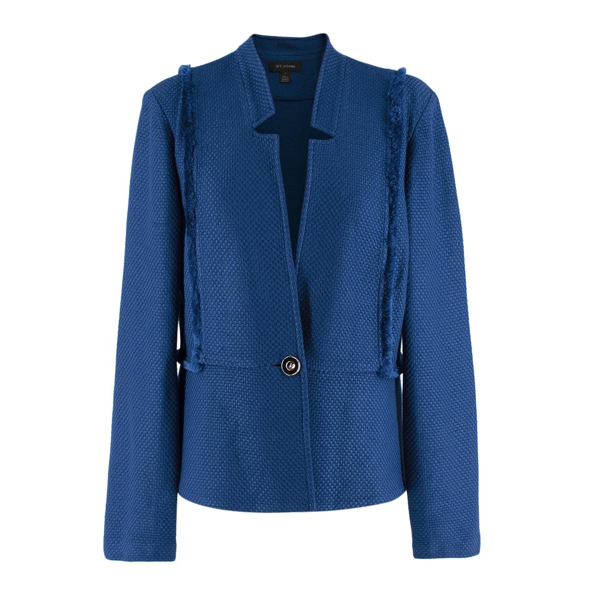 St John Blue Tweed Blazer