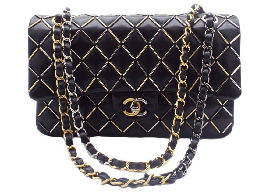Chanel Black Beaded Quilt Detail Double Flap Bag