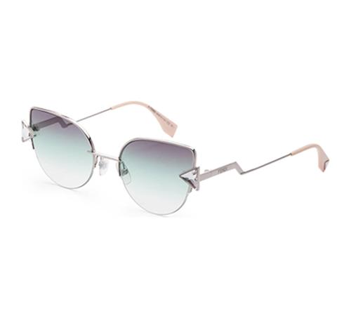 Fendi Green Crystal Detail Cat-Eye Sunglasses