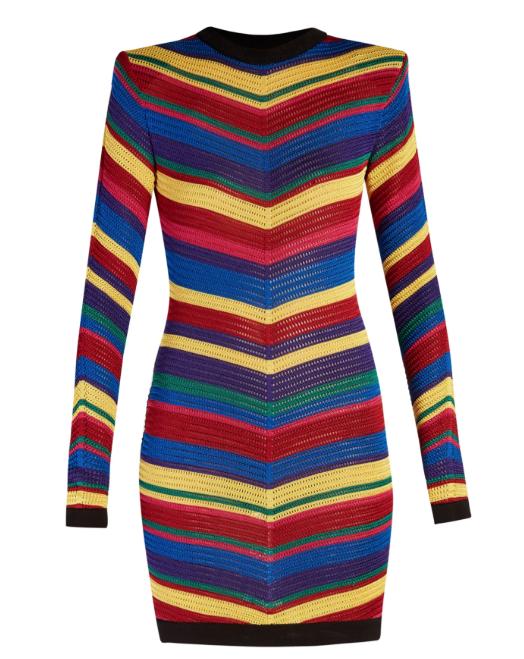 Balmain Multicoloured Chevron Knit Dress