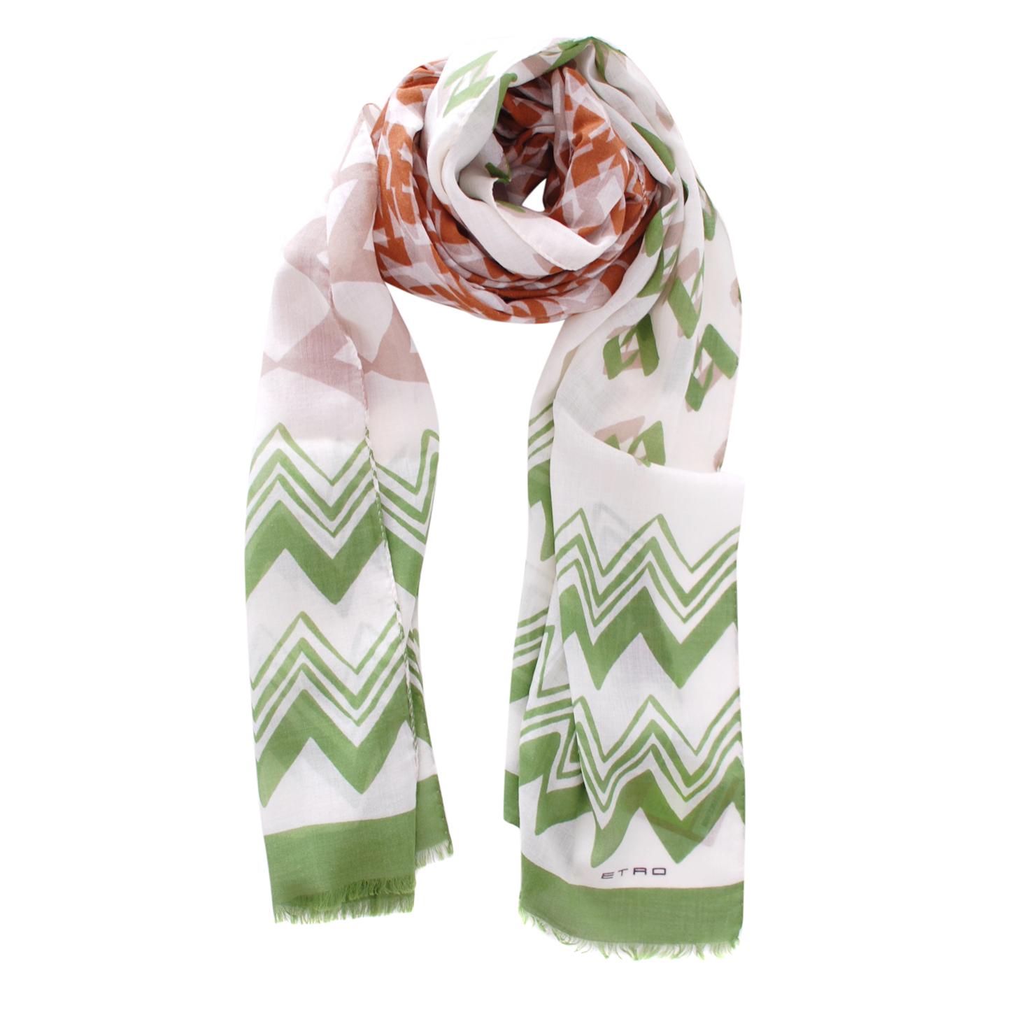 Etro Geometric Print Wool & Silk Shawl