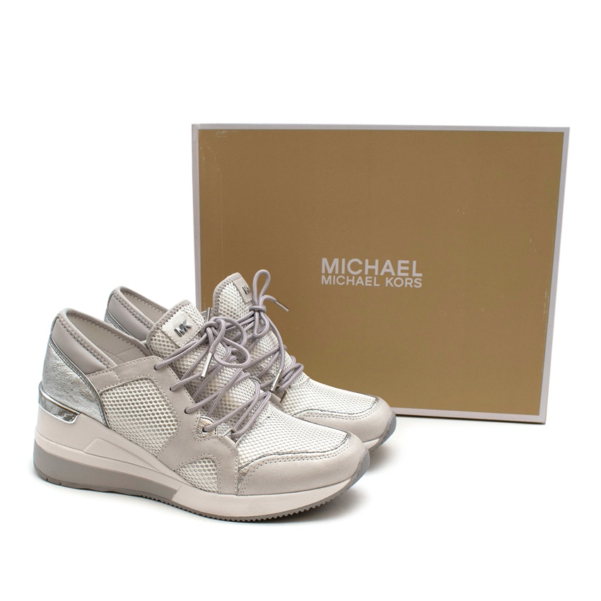 Michael Michael Kors Womens Silver/White Scout Trainer