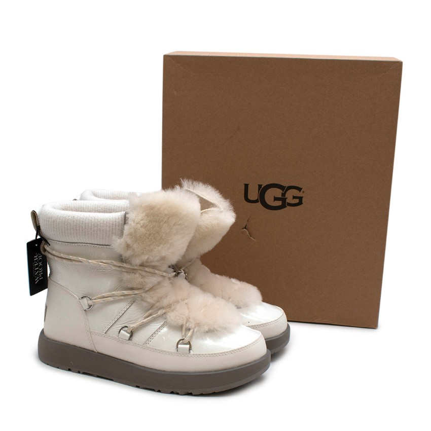 Ugg White Patent Leather Highland Waterproof Ankle Boots