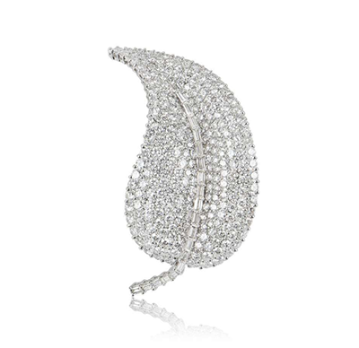 Bespoke 18ct White Gold Diamond Leaf Brooch
