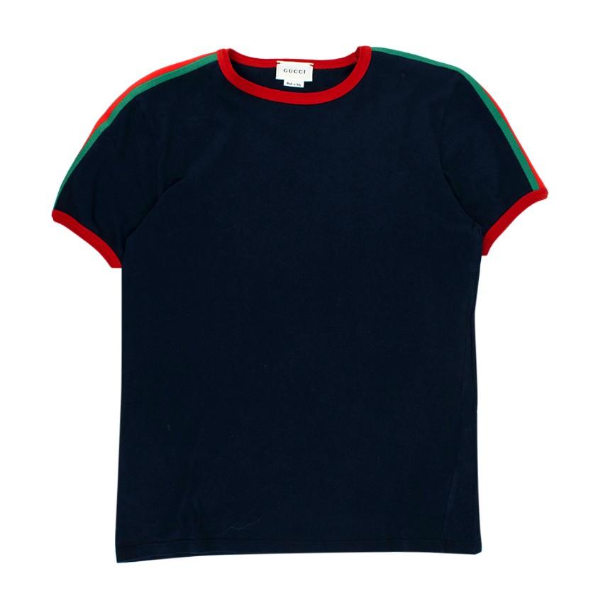 Gucci Navy Cotton Web Stripes T-shirt