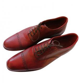Silvano Lattanzi Red Handmade Leather Brogues