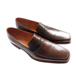 SIlvano Lattanzi Brown Handmade Leather Loafers