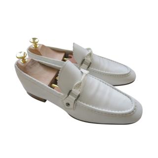 Louis Vuitton White Leather Loafers