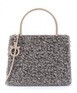 Ferragamo Grey Shearling Chain Strap Crossbody Bag