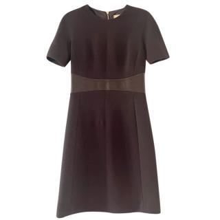 Michael Kors Leather Trim Wool Dress