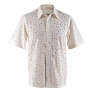 Amiri Ivory Short Sleeve Broderie-anglaise Cotton Shirt