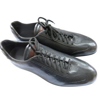 Santoni Black Leather Sneakers