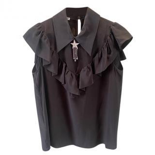Miu Miu Black Crystal Embellished Crepe De Chine Blouse