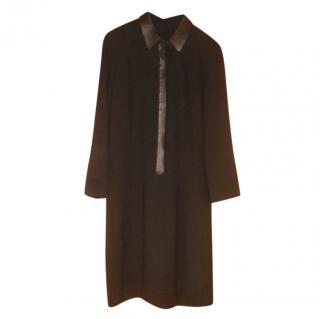 Elie Tahara Black Crepe Midi Dress with Faux Leather Trim